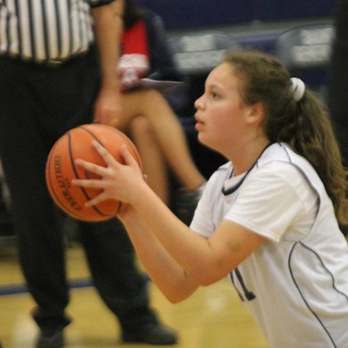 Girl shooting the basketball