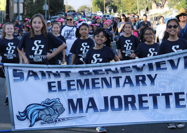 Saint Genevieve homecoming day majorettes marching