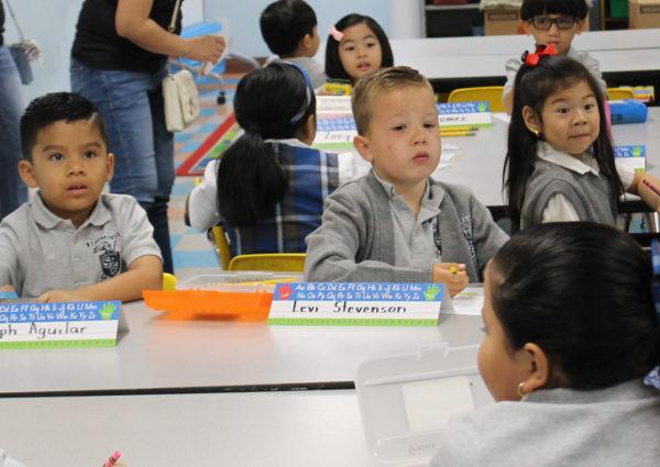 kindergarten students in class