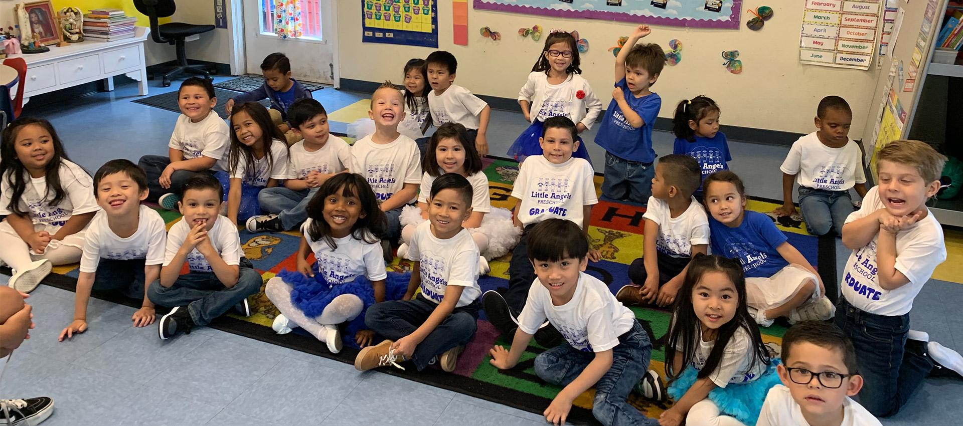 Preschool students in class ready to learn
